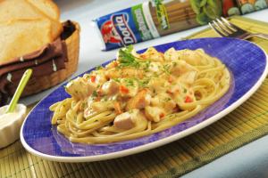 Spaghetti de espinaca doria y guiso con pollo receta por for Platos fuertes franceses