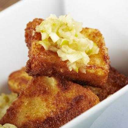 Queso fresco de cabra frito con mermelada receta por for Cocinar queso de cabra